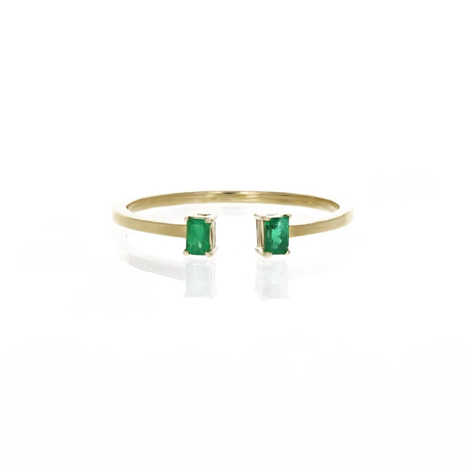 Two Emerald Gold Cuff Ring IO Collective