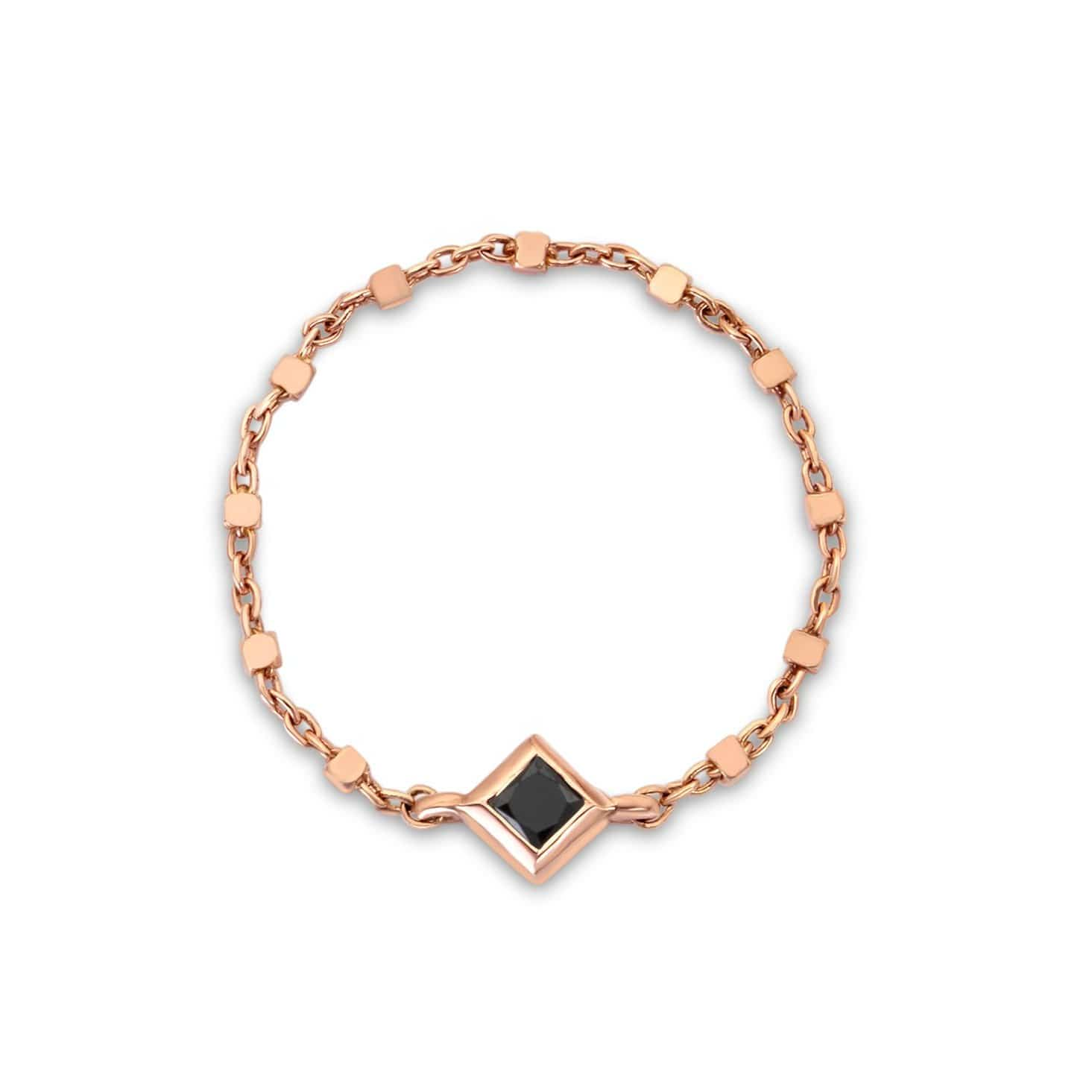 Princess Cut Black Diamond Rose Gold Chain Ring Ziba