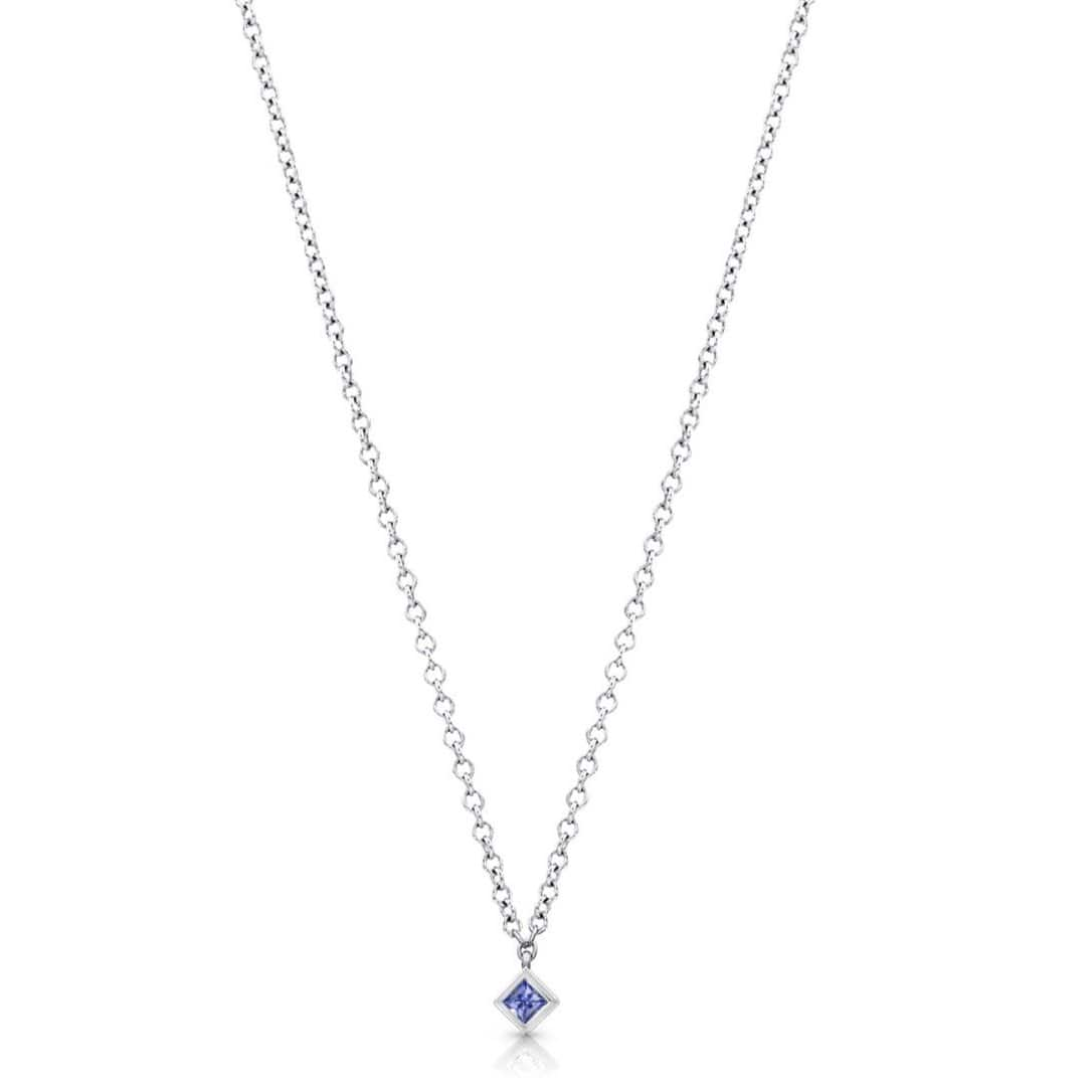 Princess Cut Blue Sapphire White Gold Pendant