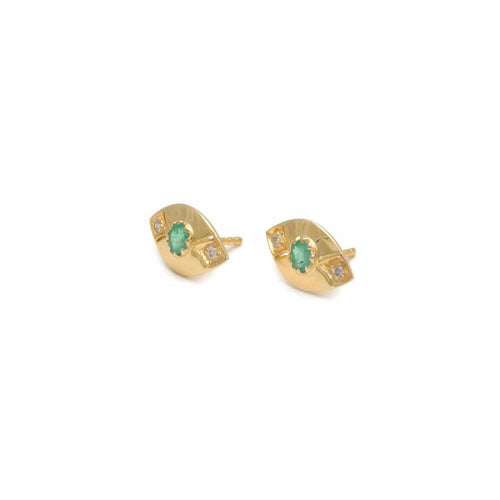 Emerald Diamond Marquise Shape Gold Studs