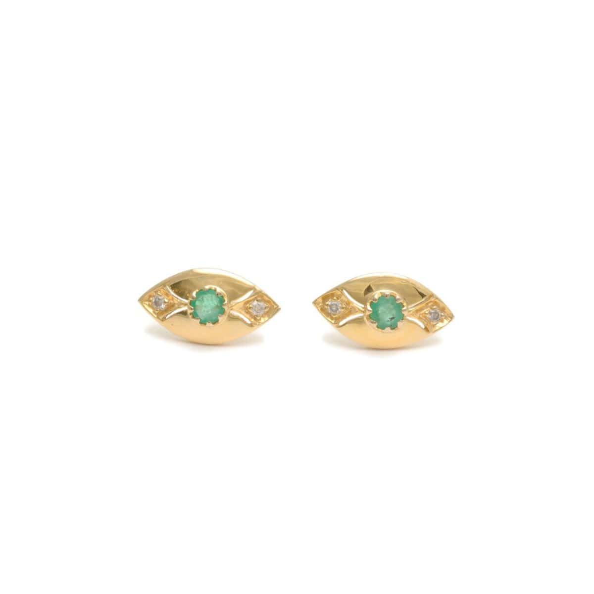 Marquise Shape Emerald Diamond Earrings
