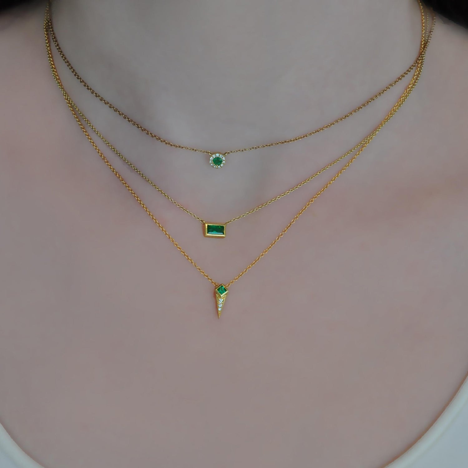 Emerald Diamond Gold Spike Necklace