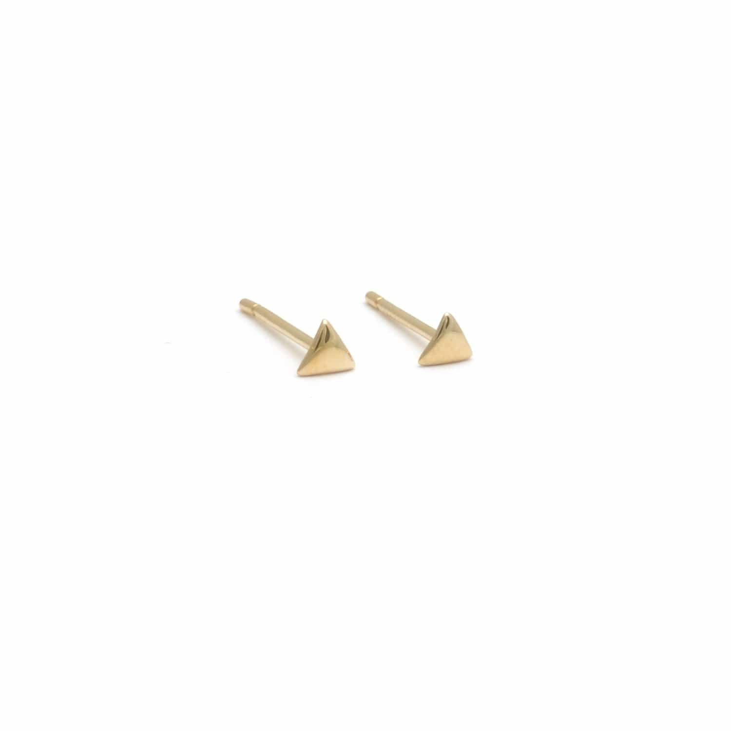 Mini Yellow Gold Triangle Studs