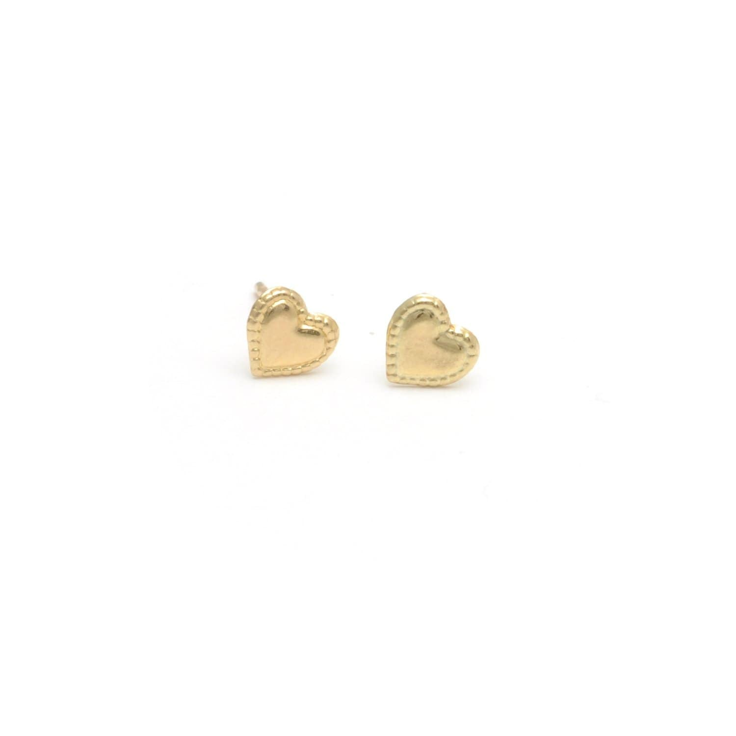Mini Heart Yellow Gold Studs