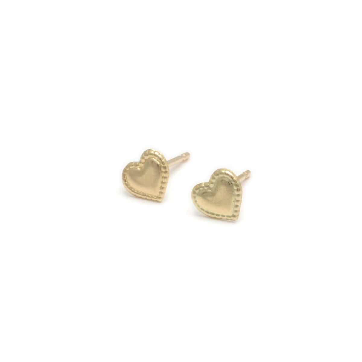 Milgrain Edge Mini Gold Heart Earrings