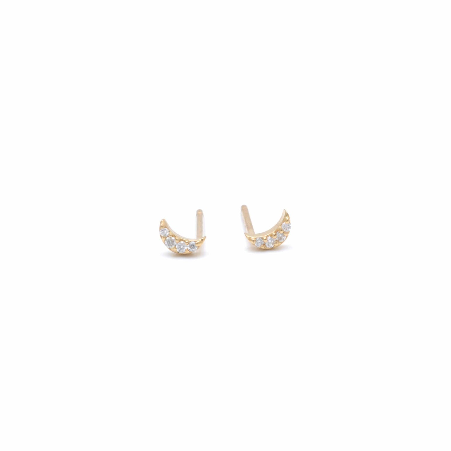 Diamond Mini Crescent Moon Studs Curated Los Angeles