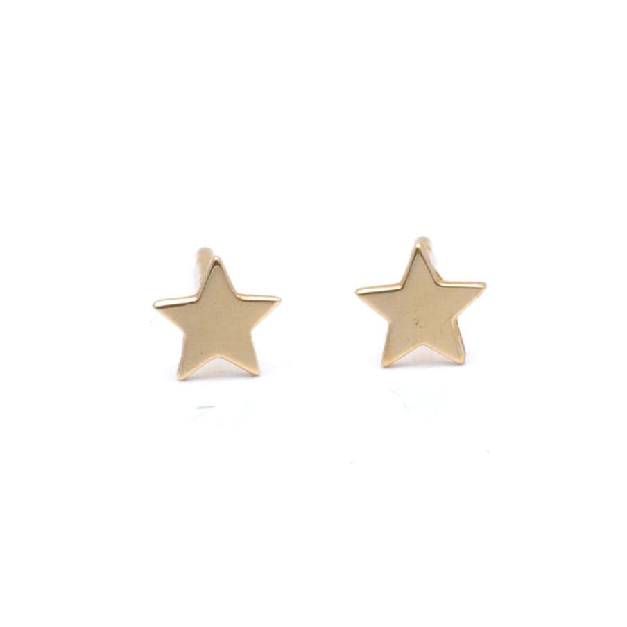 Small Star Yellow Gold Studs