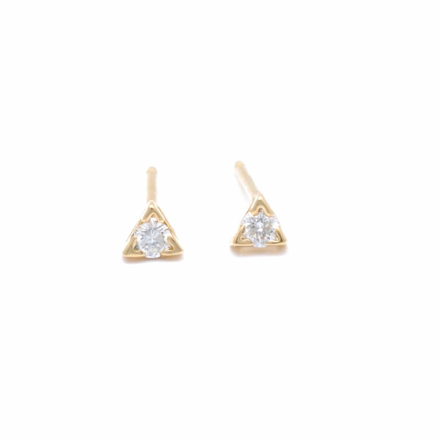 Tiny Diamond Triangle Setting Gold Studs