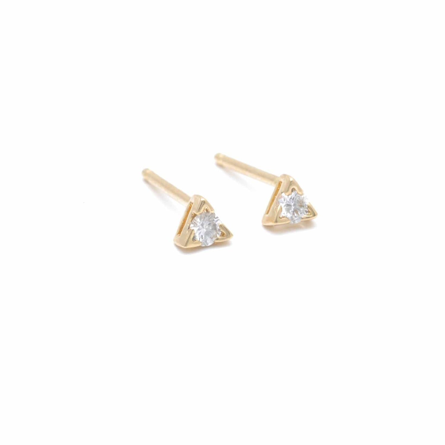 Tiny Diamond Triangle Setting Gold Earrings
