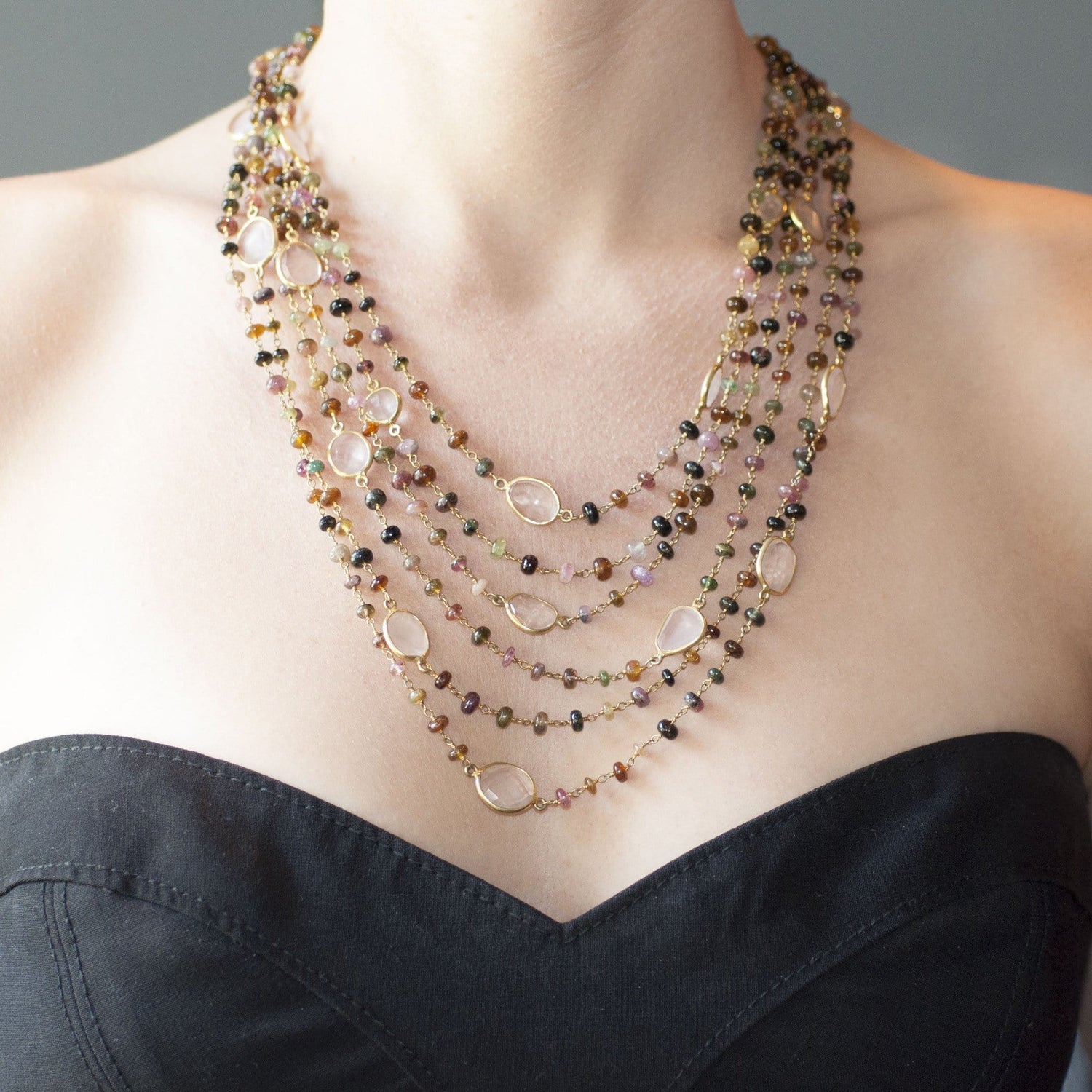 Tourmaline and Rose Quartz Long Necklace - Curated Los Angeles