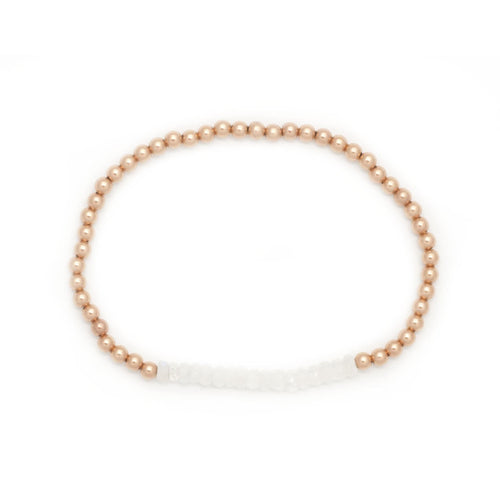 Moonstone Rose Gold Bead Layering Bracelet - Curated Los Angeles