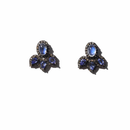 Moonstone Diamond Rhodium Stud Earrings - Curated Los Angeles