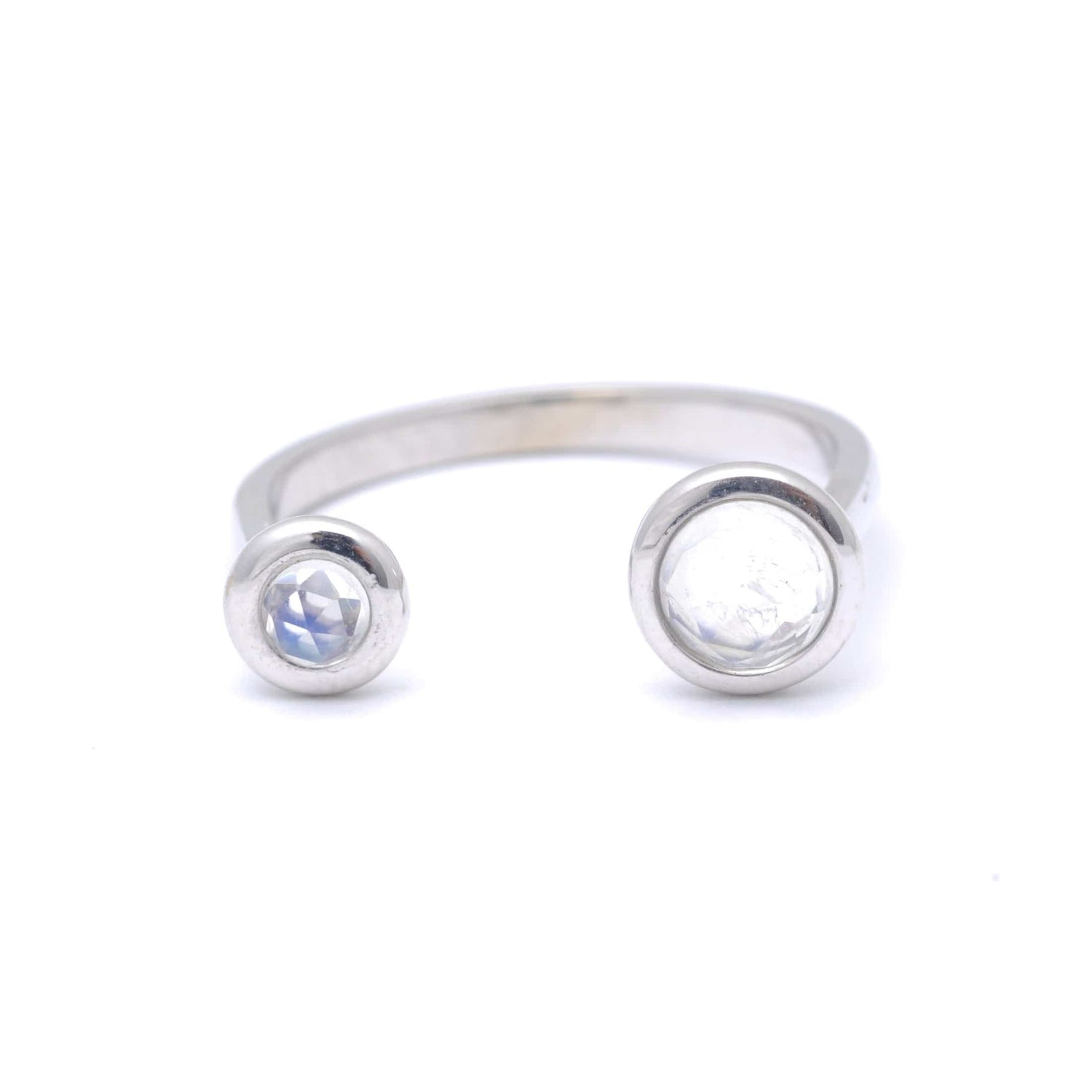 Double Moonstone Open Band Ring