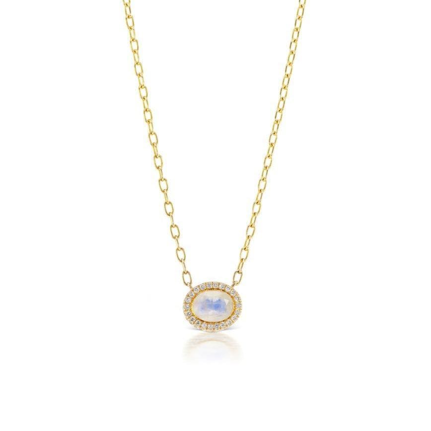 Moonstone Diamond Halo Station Necklace