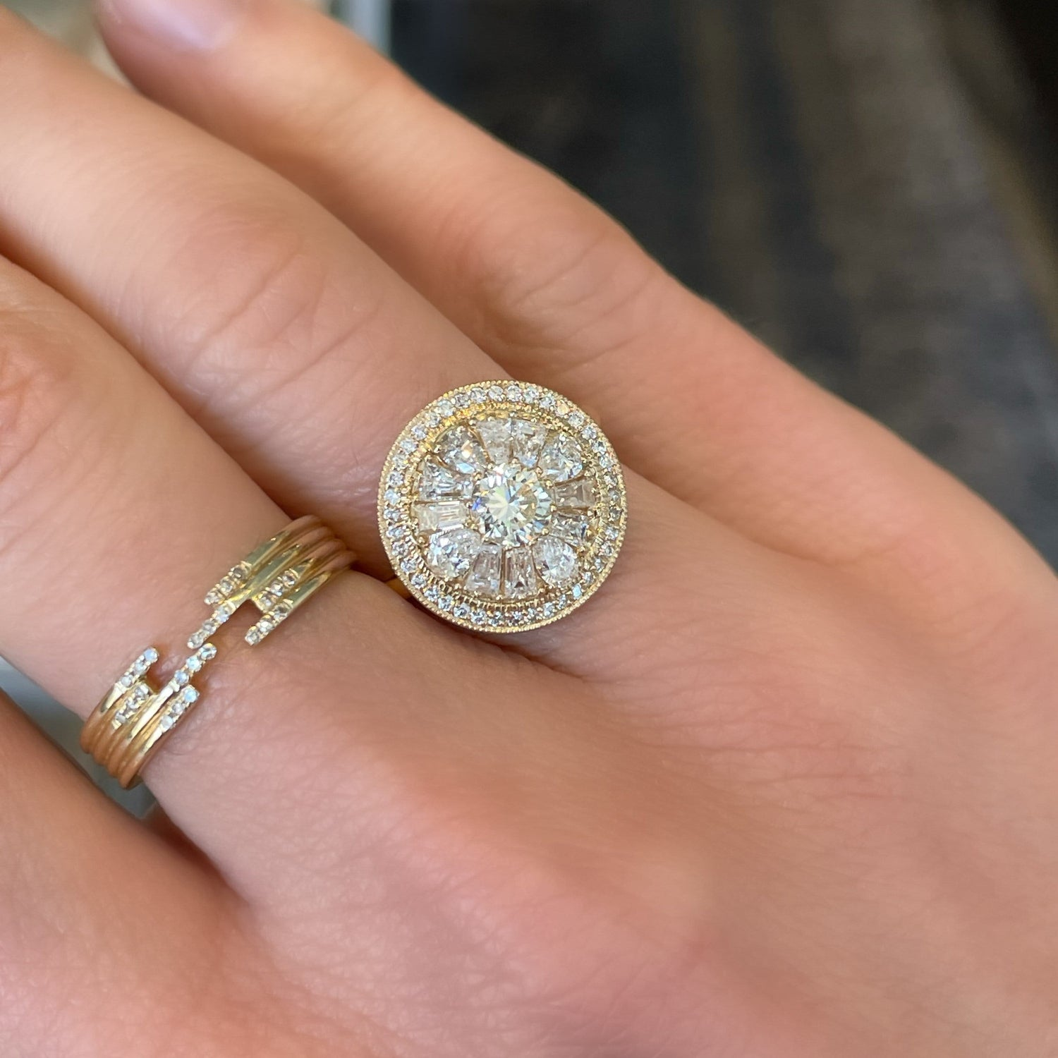 Brilliant Diamond Round Dome Mosaic Ring