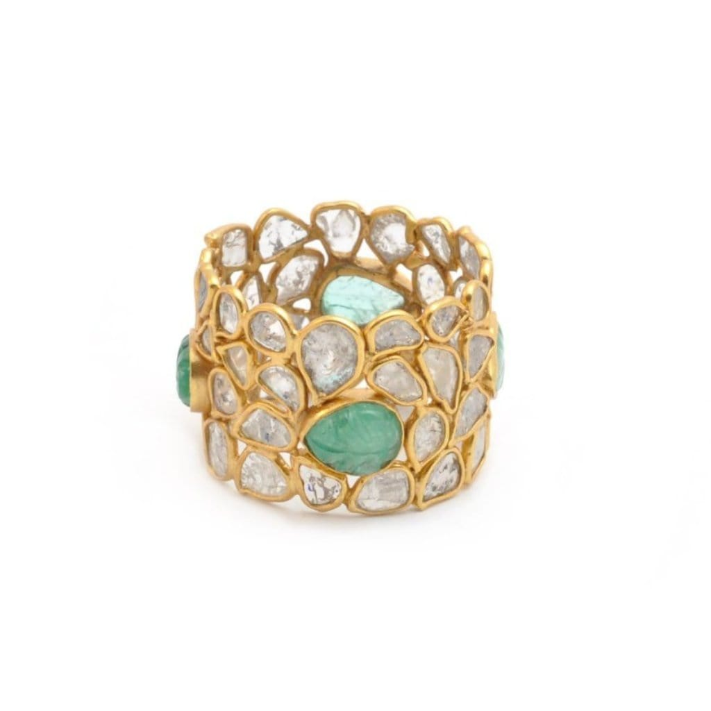 Sliced Diamond Emerald Mosaic Ring