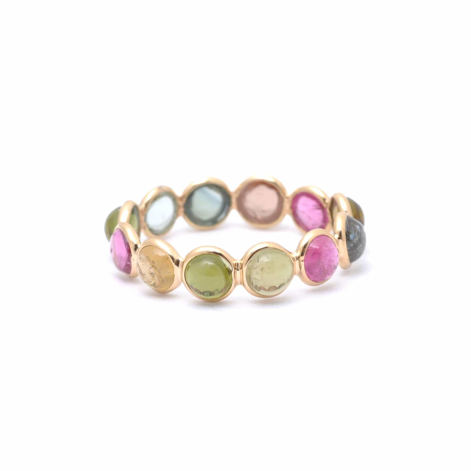 Multi Color Tourmaline Cabochon Eternity Ring