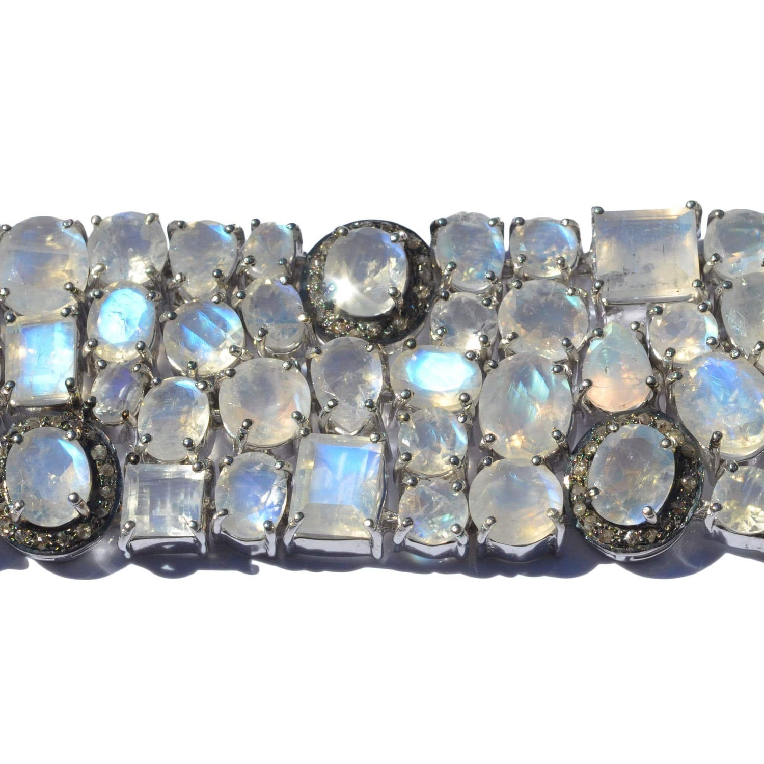 Moonstone Diamond Rhodium Bracelet - Curated Los Angeles