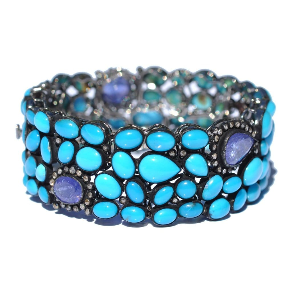 Sleeping Beauty Turquoise Tanzanite Diamond Bracelet - Curated Los Angeles