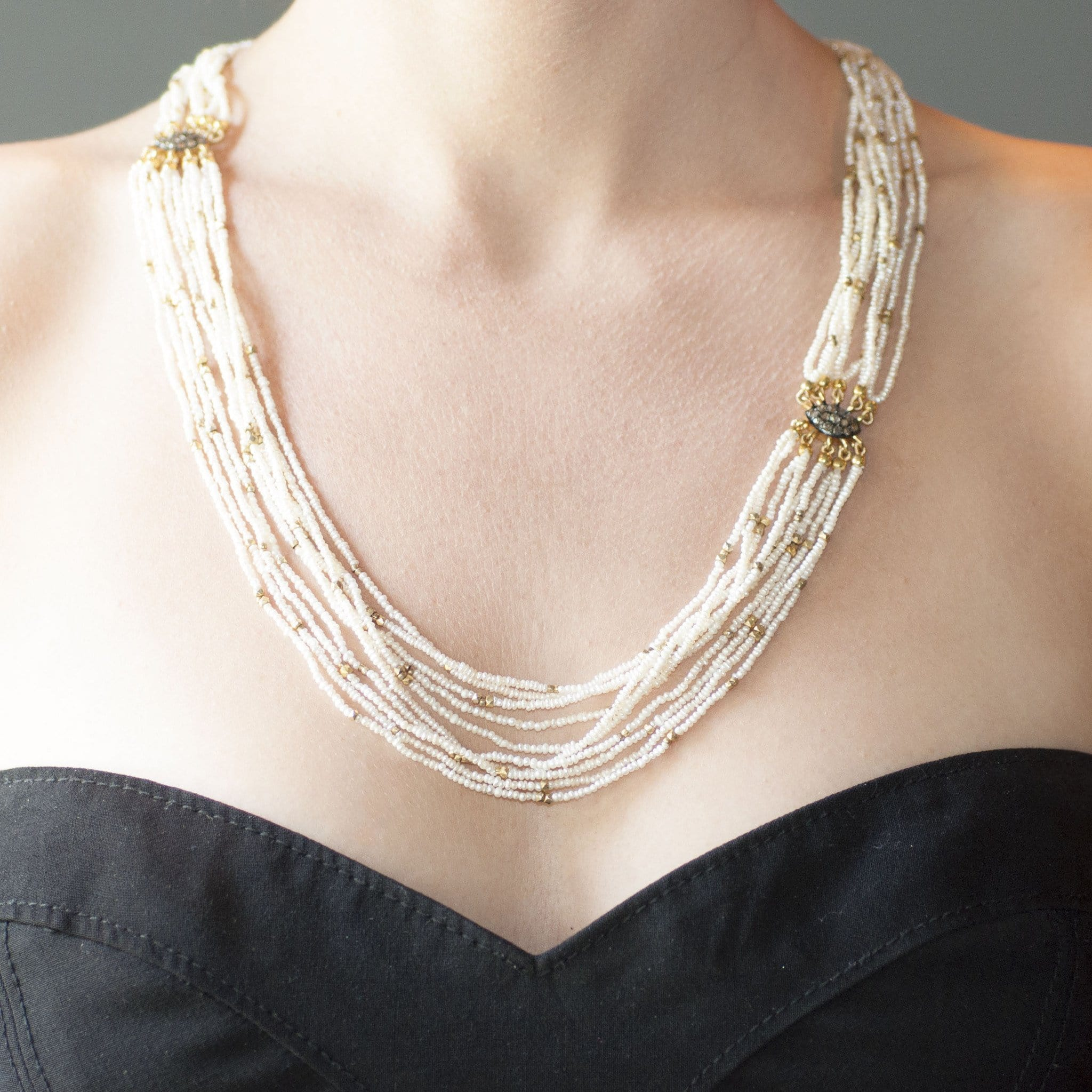 Multi Strand Pearl Black Diamond Necklace - Curated Los Angeles