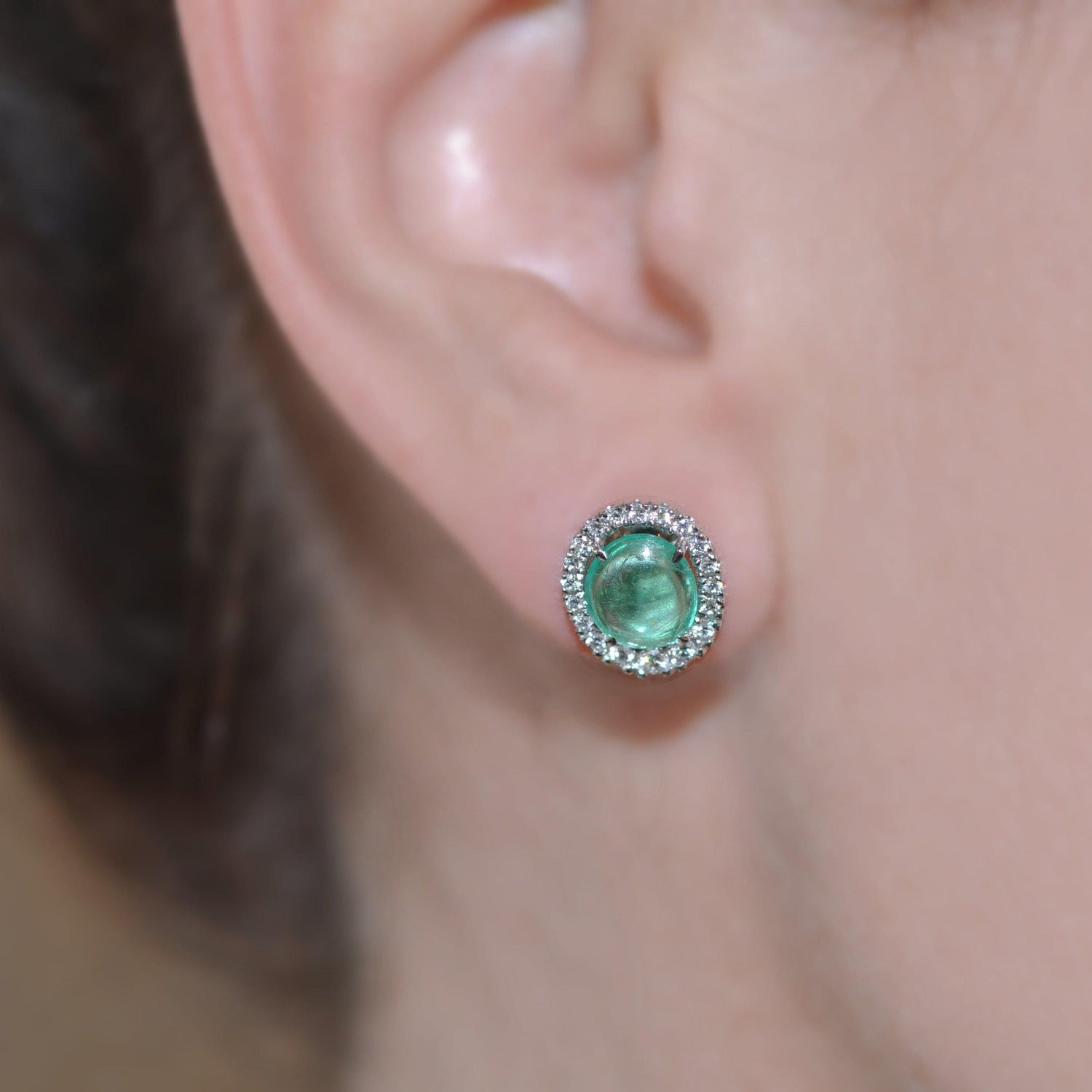 Diamond Muzo Emerald White Gold Earrings