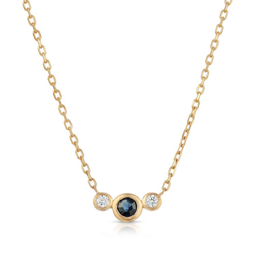 Blue Sapphire Diamond Yellow Gold Necklace Letreaime