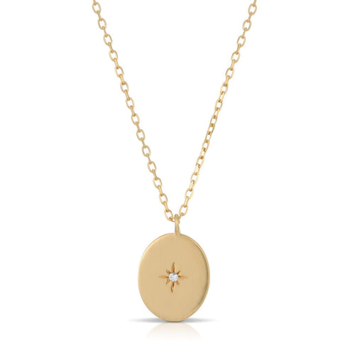 Diamond Starburst 14k Gold Oval Necklace