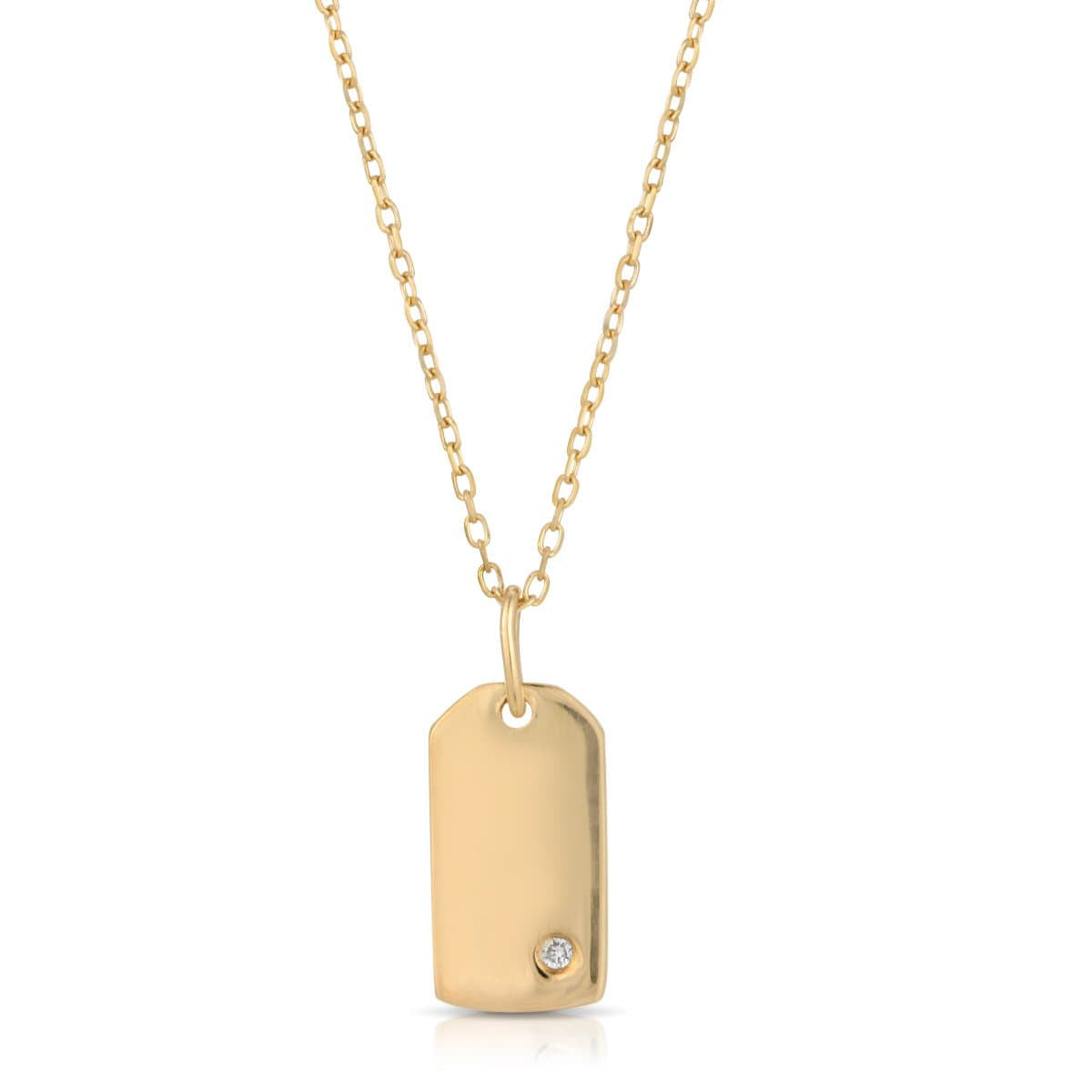 Yellow Gold Diamond Small Dog Tag Necklace
