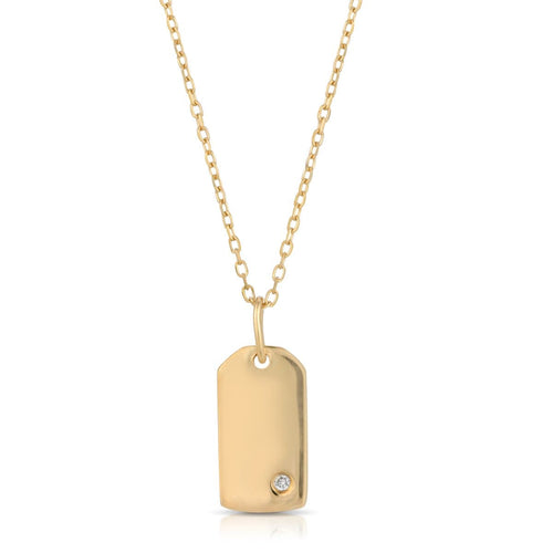 Yellow Gold Diamond Small Dog Tag Necklace Letreaime