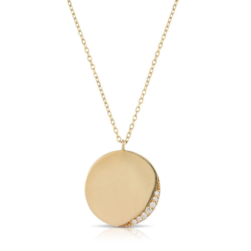 Gold Circle Diamond Crescent Necklace Letreaime