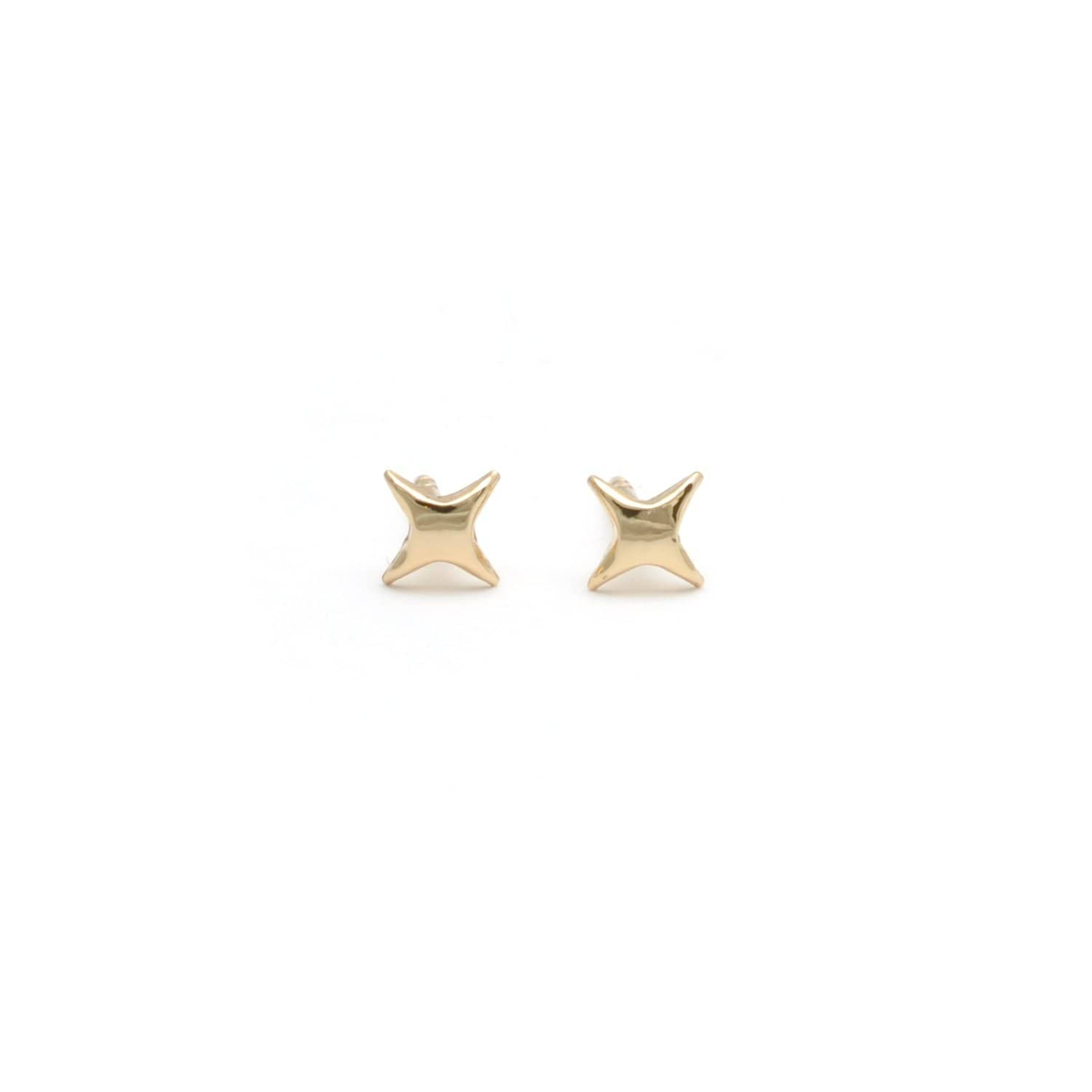 Four Point Yellow Gold Twinkling Star Studs