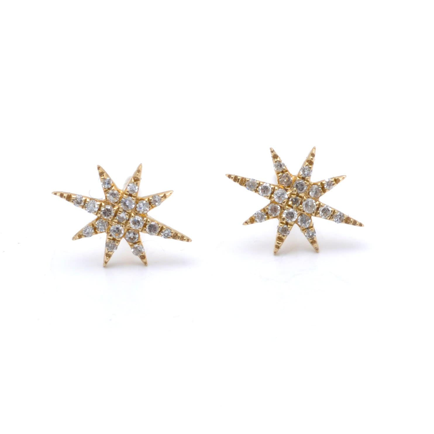 Diamond Northstar Yellow Gold Studs
