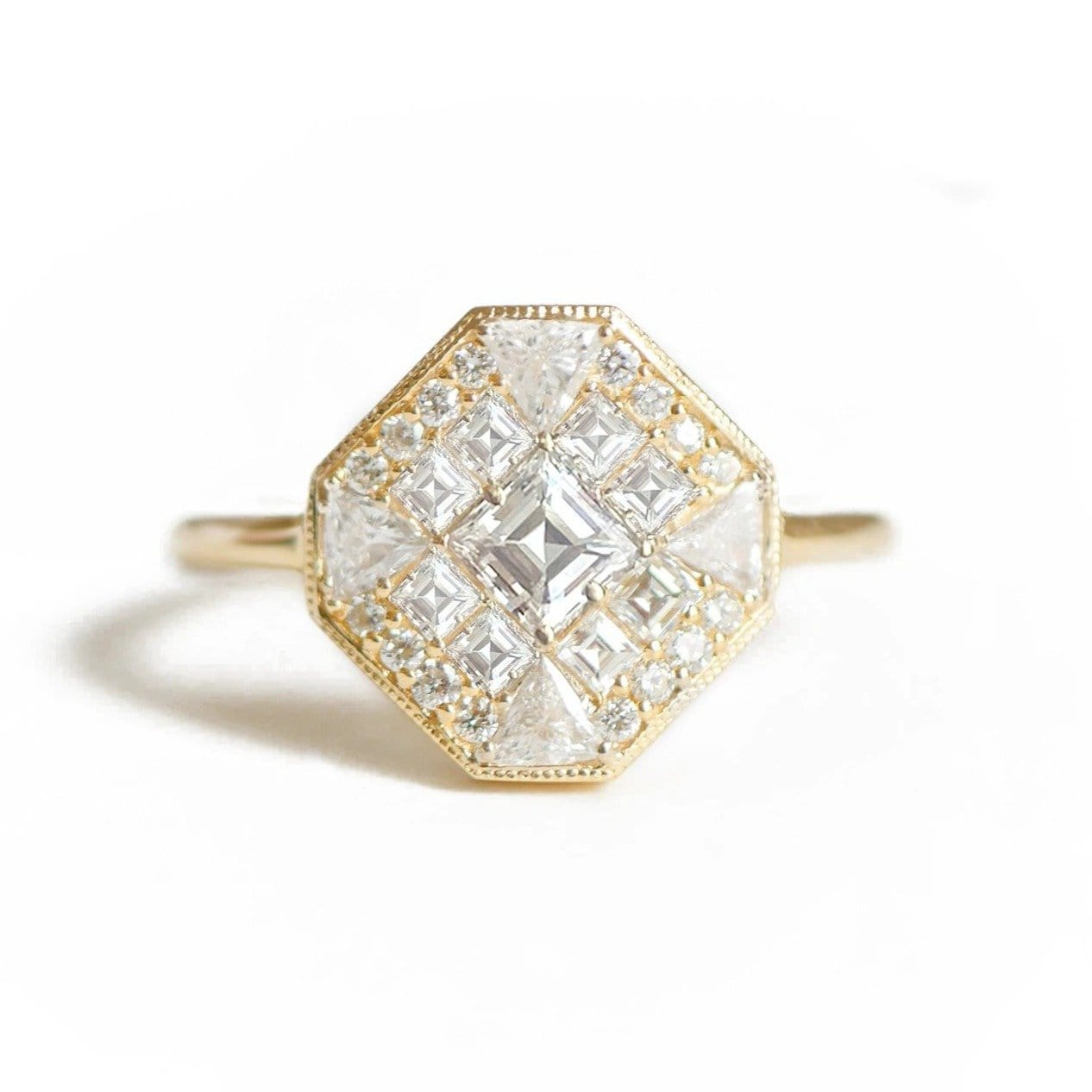 Octagon Shape Multi-Cut Diamond Mosaic Ring