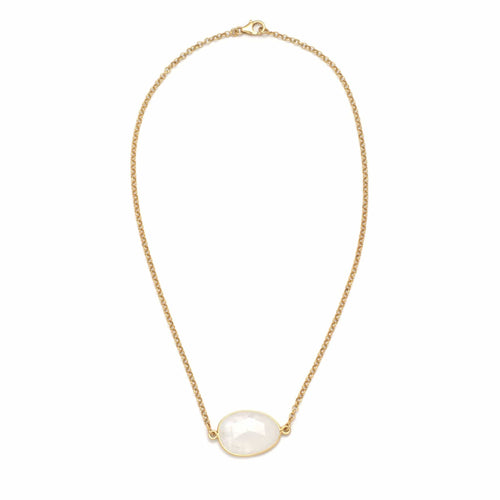Oblong Moonstone Chain Necklace