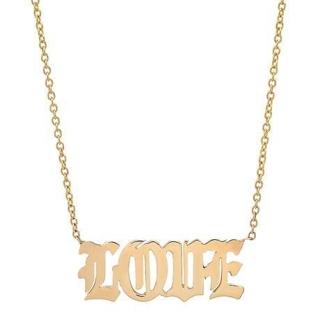 Old English Yellow Gold Love Necklace