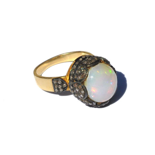 Ethiopian Opal and Diamond Cocktail Ring - Curated Los Angeles
