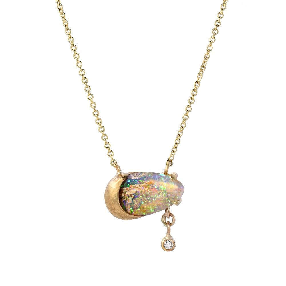 Opal Diamond Drop Matte Gold Pendant