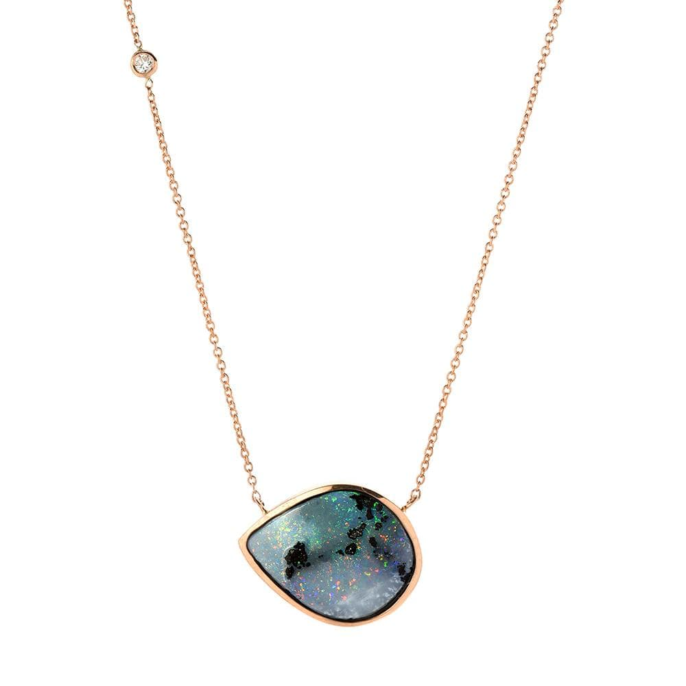 Opal Diamond Rose Gold Necklace
