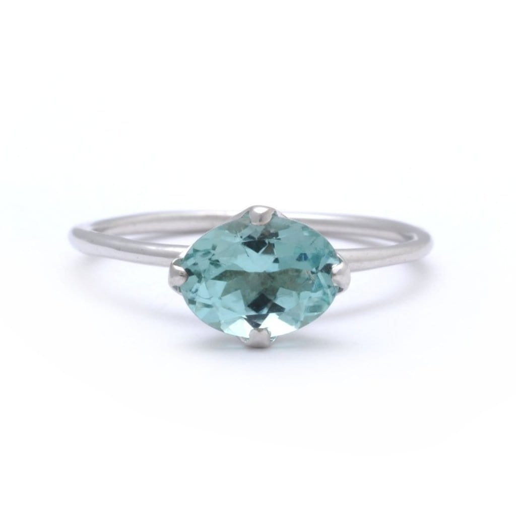 Oval Sky Blue Tourmaline Solitaire Ring