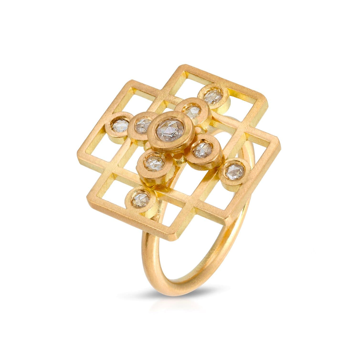 open gold cross ring