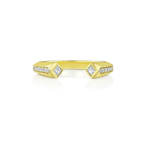 Diamond Open Cuff Style Gold Ring