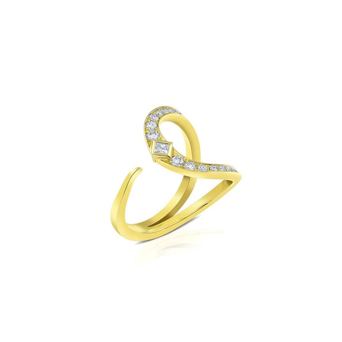 Open U Diamond Yellow Gold Statement Ring