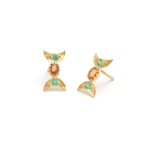 Emerald Orange Sapphire Yellow Gold Earrings