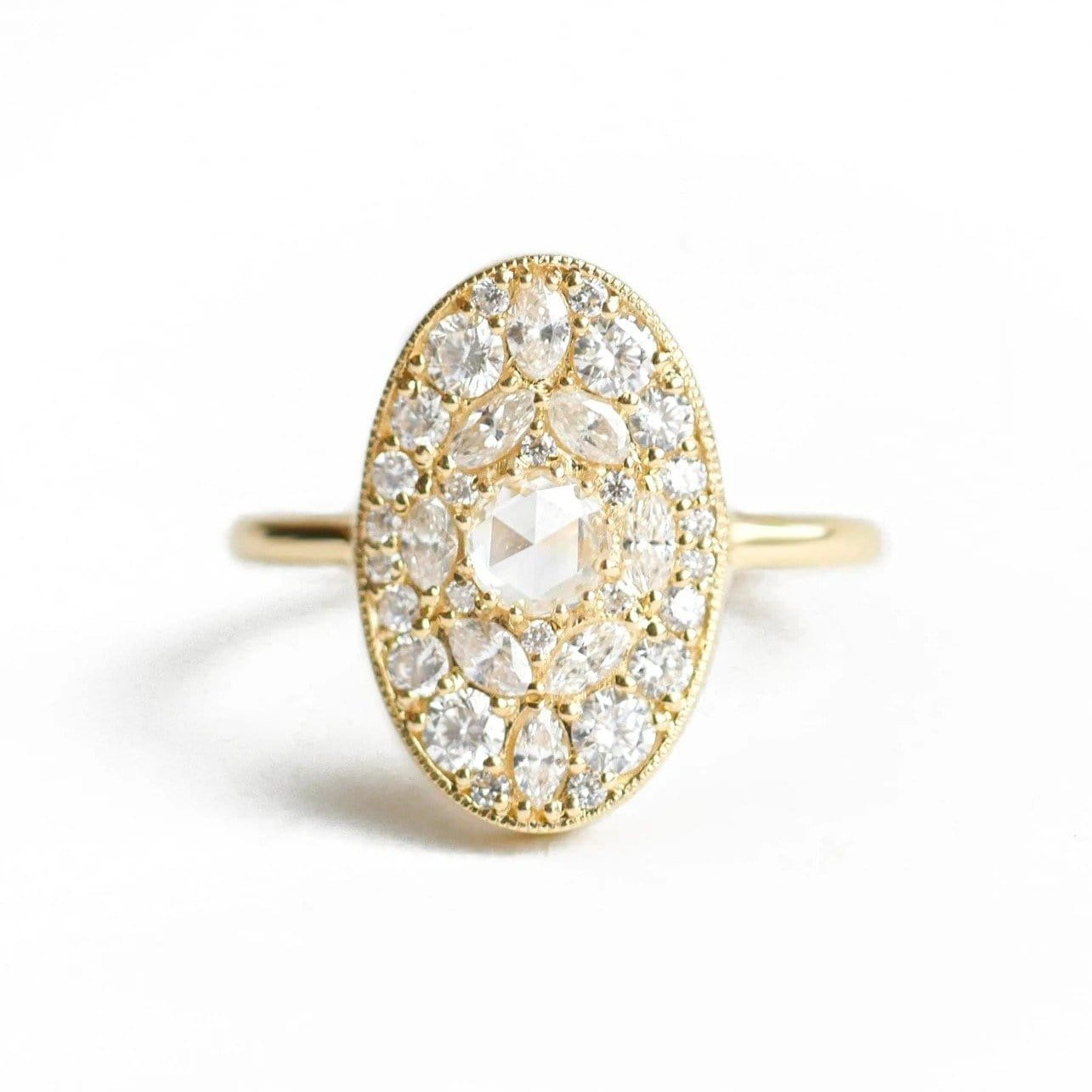 Oval Diamond Mosaic 14K Ring