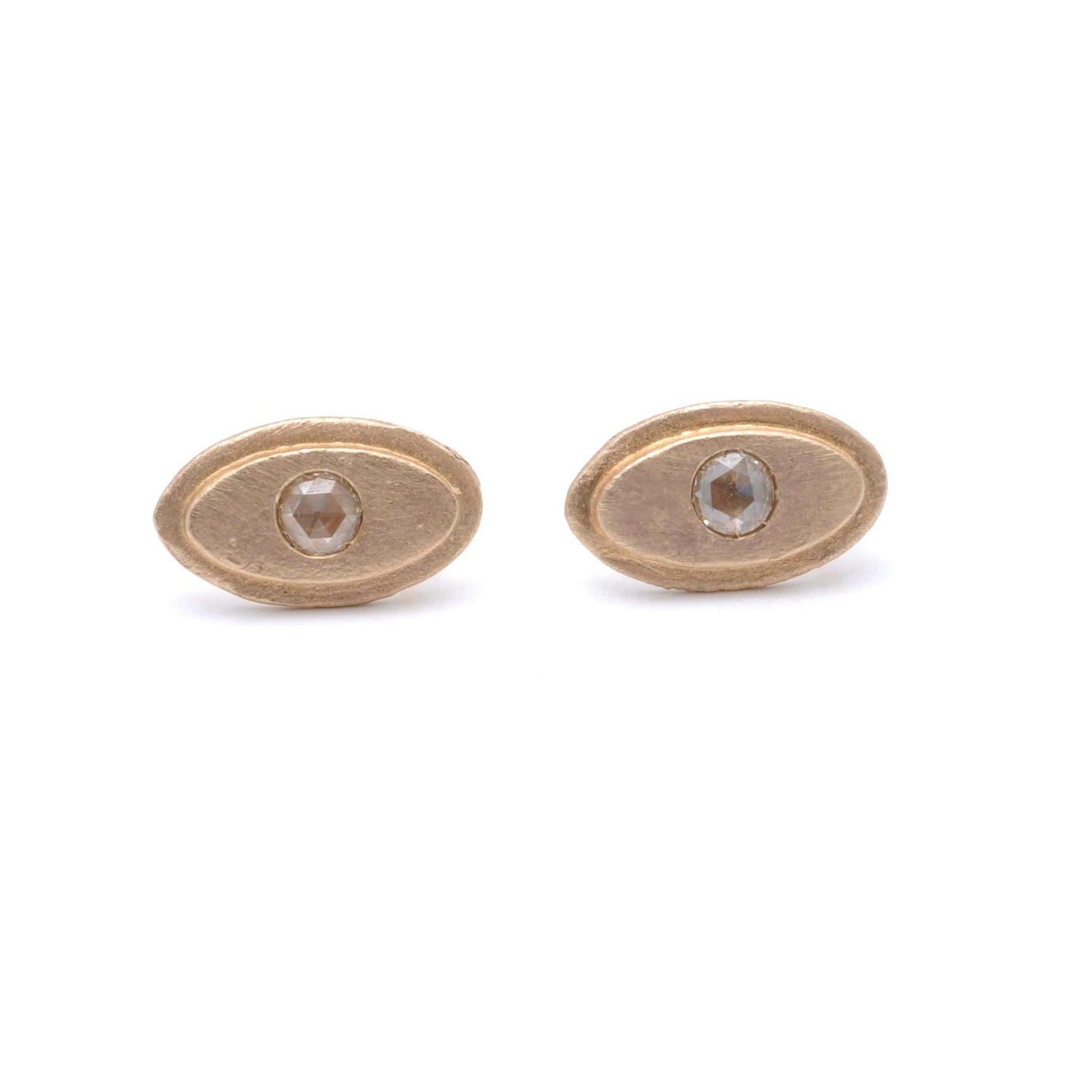 Oval Shape Diamond Matte Gold Studs