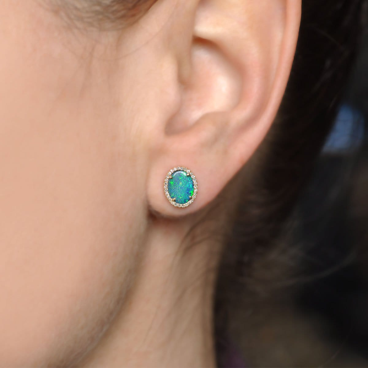 Diamond and blue opal studs
