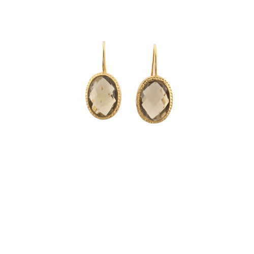 Oval Smoky Quartz Earrings - Curated Los Angeles