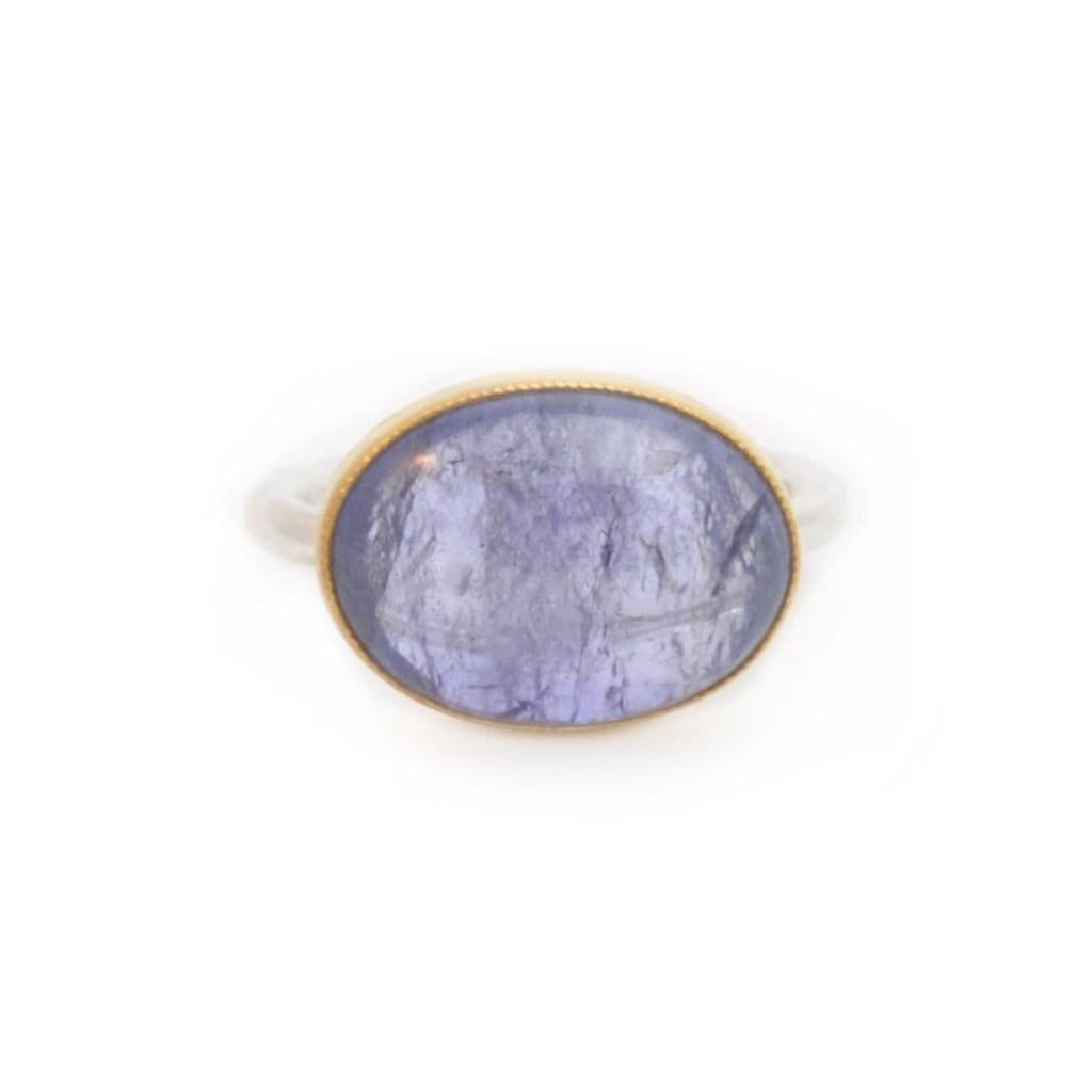 Oval Tanzanite Two Tone Cocktail Ring