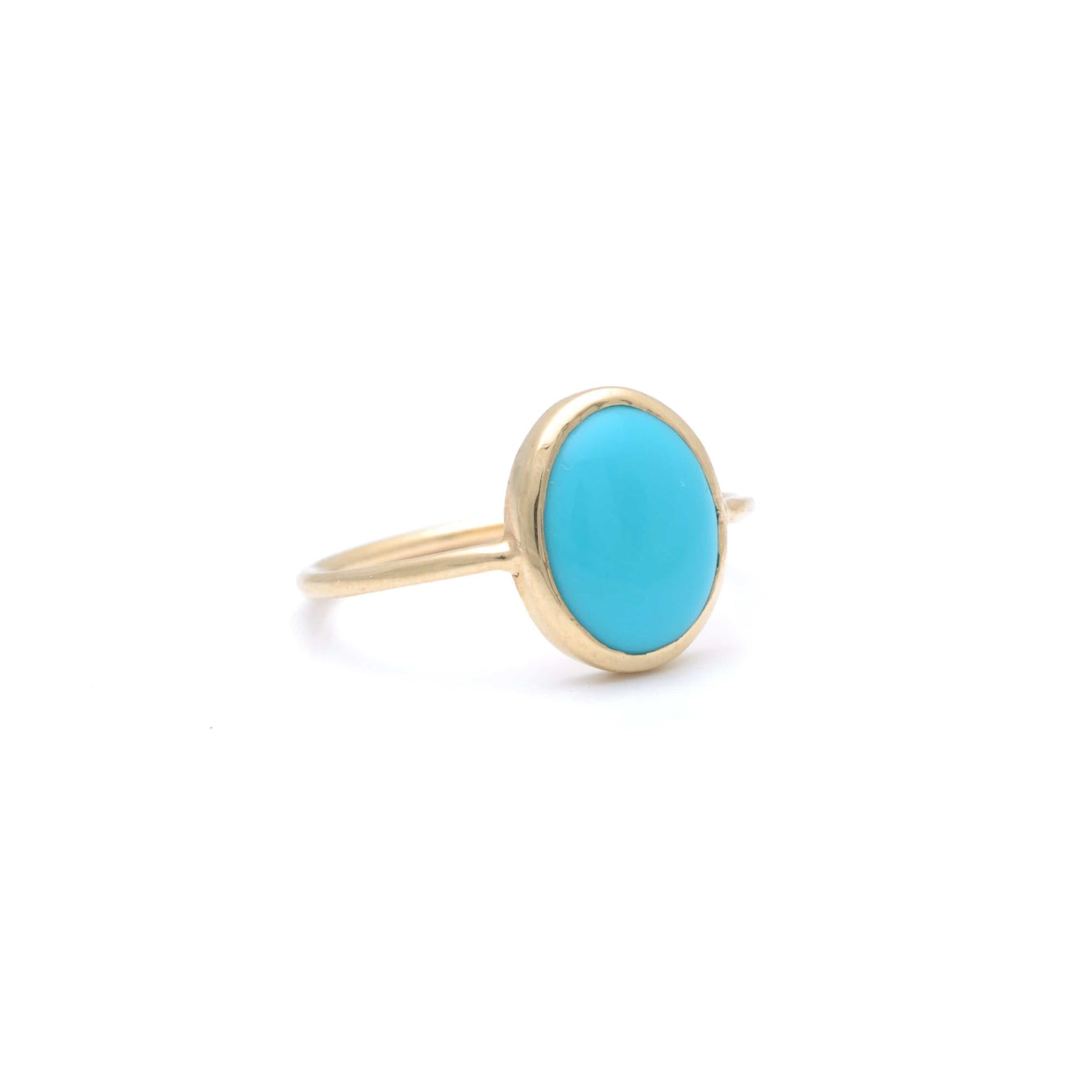 Large Oval Turquoise Cabochon Gold Ring