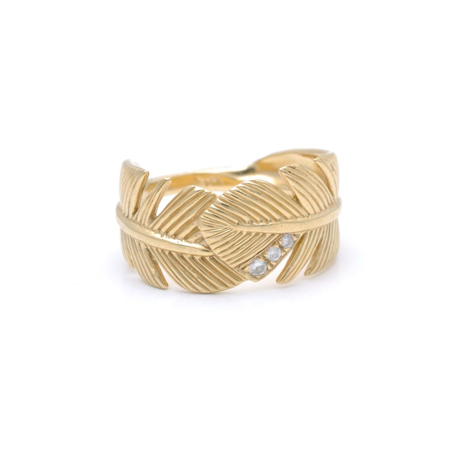 Diamond Banana Leaf Wide Gold Ring